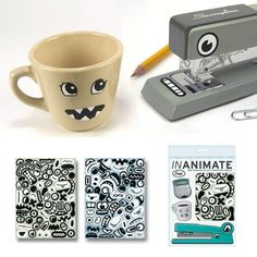 Lots of eyes, noses, and mouths included to spice up your boring stapler, pencil holder, etc. Plus, they are removable, so no sticky residue after you remove them.   Inanimate Stickers - $4.95
