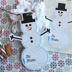 A personal favorite from my Etsy shop https://www.etsy.com/listing/478909830/snowman-tags-stickers-snowman-christmas