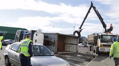 truck rolled  after turning in to jervois Street  Dunedin 2017