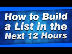How to Build a List FAST in the Next 12 Hours (100% FREE) - https://www.startyourfirstonlinebusinessforfree.com/how-to-build-an-email-list/how-to-build-a-list-fast-in-the-next-12-hours-100-free/
