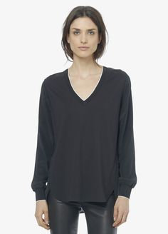 Mixed Media V-Neck Blouse With Contrast Tipping