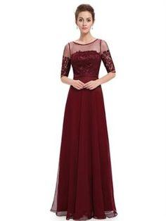 High Quality Burgundy Lace Sleeves V Back Sheath Cheap Chiffon Long Bridesmaid Dress Prom Dress by tidemeshop