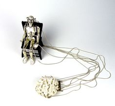 """Us, 2009 Dimension: H17"""" x W2"""" x D2"""" Medium: sterling silver and brain coral"""