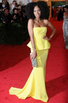 SOLANGE KNOWLES  While sister Beyonce went for gothic black, Solange Knowles went for sugary lemon yellow in a strapless peplum (how very on-trend!) dress by Rachel Roy.