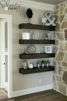Wooden shelf wall decor for the living room to hold cute nicknacks or pictures