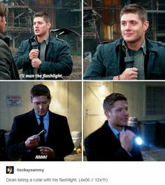 Dean being a cutie with his flashlight  Yellow Fever 4x06 Regarding Dean 12x11