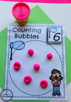 This Kindergarten Math Unit 1 Set includes 25 Number Worksheets and 15 Math Centers. Simplify your lesson planning with these fun, hands on activities. Math Activities For Toddlers, Bubble Activities, School Age Activities, Kindergarten Math Activities, Kids Math Worksheets, Number Worksheets, Fun Math, Preschool Activities, Preschool Journals
