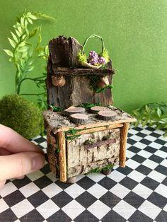 Miniature fairy stove, fairy furniture, fairy dollhouse - Garden Style - Miniature fairy stove, fairy furniture, fairy dollhouse No fairy kitchen is comp Fairy Furniture, Etsy Furniture, Twig Furniture, Doll Furniture, Furniture Chairs, Miniature Furniture, Furniture Ideas, Furniture Handles, Kitchen Furniture