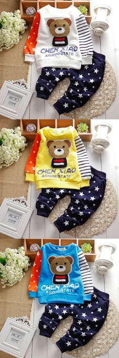 2016 New Baby clothing sets unisex kids long sleeve+pants set cartoon clothes suits for infant boy girl spring roupas de bebes