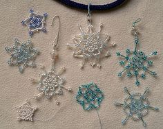 Beaded snowflake directions http://www.ecrafty.com/casearch.aspx?SearchTerm=snowflake