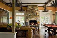 a warm rustic great room by carolyn tierney