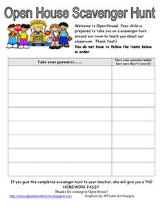 Scavenger hunt to be used at open house. Beginning Of School, New School Year, First Day Of School, School Days, Preschool Open Houses, Preschool Classroom, Preschool Ideas, Classroom Decor, Back To School Night