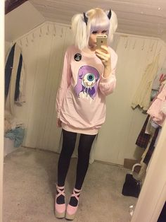 """saccstry: """" lolitamaneata: """" cosmashanti: """" Made a bit halloween-y creepy cute coord with my new t-shirt/sweater/dress from Himistore! """" Oh look the sweater with my stolen art on it again… """" This is..."""