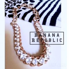 ✨HOST PICK✨•+ Banana Republic +• neCkLaCe •Banana Republic• Statement Necklace! Gold Tone chain diamond & tan leather weave/also weaved w/shiny white thread around diamond studs. 17in. in L. Has adjustable chain lengthener, to make a little longer. Brand new w/o tags. Super COoL & ChiC with A HinT of GLAM.+*. Banana Republic Jewelry Necklaces