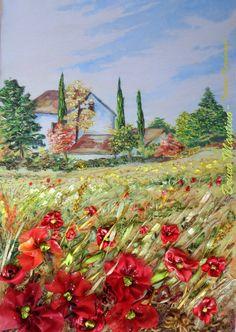 Paesaggio italianoricamatoquadrofiori di di SilkRibbonembroidery