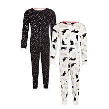 Buy John Lewis Girls' Cat and Stars Pyjamas, Pack of 2, Black/Multi Online at johnlewis.com