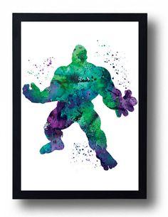 Avengers Hulk Watercolor Art Print Movie Marvel Poster Hero Painting Boy room decor Superhero Comics Hulk Illustration Childrens Wall Art
