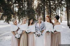 Robert and Natasha's wedding in Saskatoon, Saskatchewan Christmas Bridesmaid Dresses, Cream Bridesmaid Dresses, Winter Wedding Bridesmaids, Snow Wedding, Winter Wedding Fur, Winter Weddings, Christmas Wedding, Fall Wedding, Wedding Ideas