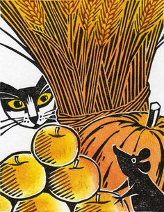 Cat and Mouse at Harvest Time - Woodcut Print by Clare Melinsky Linocut Prints, Art Prints, Block Prints, Wood Engraving, Tampons, Woodblock Print, Cat Art, Les Oeuvres, Printmaking