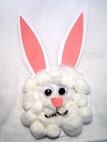 20 Easter crafts for toddlers. We made the paper plate bunny with cotton balls and googly eyes. I drew the nose and mouth on and Lilly glued on the ears, eyes, and all the cotton balls. Fun, quick and inexpensive craft for toddlers. And It makes a great decoration for the door :)