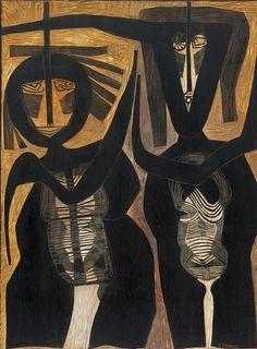 'Couple' by South African artist Cecil Skotnes Carved, incised & painted wood, 61 x cm. via johans borman fine art Contemporary Wall Art, Modern Art, Famous Black Artists, Illustrations, Illustration Art, Street Art, South African Artists, Africa Art, Outsider Art