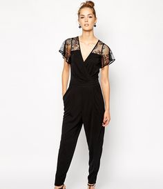 Love the lacy sleeves on this jumpsuit.