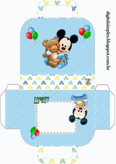 Discover recipes, home ideas, style inspiration and other ideas to try. Festa Mickey Baby, Mickey Mouse Baby Shower, Baby Mouse, Mickey Minnie Mouse, Baby Disney Characters, Paper Box Template, Disney Printables, Diy Gift Box, Minnie Birthday