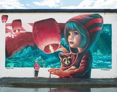 Stockholm, Sweden based artist Yash created the most beautiful street art that catch the attention of people at first glance. Murals Street Art, 3d Street Art, Urban Street Art, Graffiti Murals, Amazing Street Art, Street Art Graffiti, Mural Art, Street Artists, Amazing Art