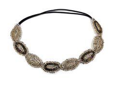Stretchy Elastic Beaded Headband Sparkly by GemoftheGarden on Etsy, $12.00