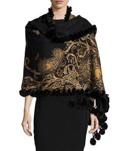 Cashmere Paisley-Print Fur-Trim Reversible Shawl, Black/Gold by Gorski at Bergdorf Goodman.
