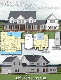 Farmhouse Plan with Optional Garage Loft Architectural Designs Farmhouse Plan gives you 5 bedrooms, baths and sq. Where do YOU want to build?Architectural Designs Farmhouse Plan gives you 5 bedrooms, baths and sq. The Plan, How To Plan, Garage Loft, Car Garage, Farmhouse Floor Plans, Home Modern, Dream House Plans, Dream Houses, 5 Bedroom House Plans