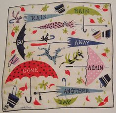 Vintage Designer Carl Tait Raining Cats and Dogs Mid Century Hankie – Rain Rain Go Away Come Back Another Day Retro Design, Vintage Designs, Textile Patterns, Print Patterns, Textiles, Raining Cats And Dogs, Singing In The Rain, Retro Fabric, Vintage Handkerchiefs