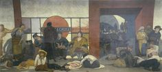 """""""The Underworld: Taking cover in a Tube Station during London air raid"""" is a painting by British artist Walter Bayes in 1918. The painting represents how civilians of people in a railway station. The civilians of mostly women and children are hiding from the airstrikes going on. The drab colors and way the figures are depicted show fear and terror of the situation."""
