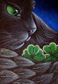 """Black Angel Cat - Saint Patricks Leaf Clover"" par Cyra R. Cancel"