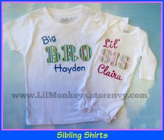 Sibling shirts to celebrate a new baby sister.
