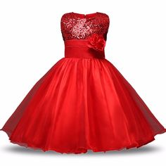 7.82$  Buy here - Red Flower Princess Wedding Dress Girl Sequin Tulle Dresses Children Clothing Ball Gown Girls Clothes Kids Party Dresses Summer   #buyonlinewebsite