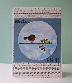 Winter Wishes card for Kuretake, using Papertrey Ink Itty Bitty Birds stamp set, Gansai Tambi watercolours and Zig Clean Color Real Brush markers.  www.glitterangel.typepad.com