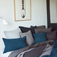 MDV linen bedding blue grey