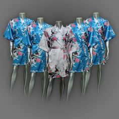 Set of 5 Short Silk Bridesmaid Robes Painting Peacock Design Gown Robe  ( Free Size)