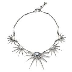 """A standout piece in the collection, the Zenith Necklace highlights glass cabochon pearls in three ombre shades of pale grey, set in silvertone stars dotted with clear glass Swarovski crystals. Adjustable lobster closure. Brass, glass pearls, glass stonesMeasures 17""""L with 1.5"""" chain extension"""