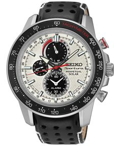 Seiko Men's Solar Chronograph Sportura Black Leather Strap Watch 45mm SSC359