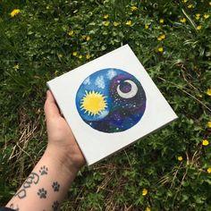 Yin and yang canvas, sun and moon canvas, galaxy painting, galaxy moon canvas…