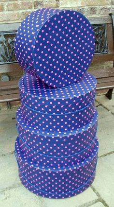 Set of 4 Boxes in Navy with either Pink or White polka dots (plus £7.95 postage & packing) £65.00