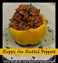 I made this same sloppy joe recipe and put it on top of sweet potatoes instead of inside peppers. I can't decide which version is my favorite. The pepper version is lower in carbs. Click here to view the sweet potato version. Enjoy! Check out some of my other favorite low carb stuffed pepper...