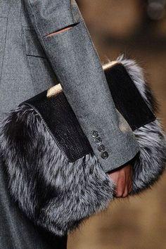 Fur Bag , inspires me to make something similar, maybe with some handles. - used designer handbags, cute handbags on sale, big handbags for women Ladies Handbags Sale, Fall Handbags, Handbags On Sale, Purses And Handbags, Handbags Online, Fur Fashion, Winter Fashion, Fashion Trends, Leather Fashion