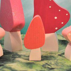 Kids Wooden Toy  Magic Wooden Mushrooms