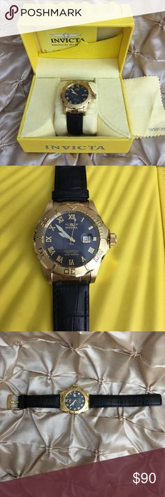 Invicta Watch 1712 Invicta Watch 1712 Professional Pro Diver Black MOP Dial Gold Case Leather Invicta Accessories Watches