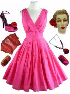 now in stock www.lebombshop.net  50s Style PINUP Pink SURPLICE Sun Dress w/FULL Skirt