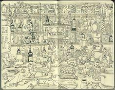 Detailed #art #journal #illustration #messy #kitchen #sketch