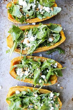 An easy recipe for roasted delicata squash stuffed with salad greens, goat cheese and roasted pumpkin seeds.…